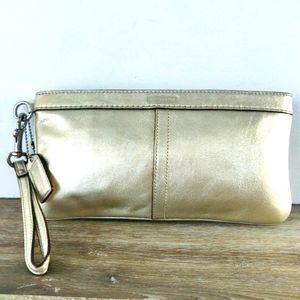 😍 COACH silver gold leather clutch handbag purse